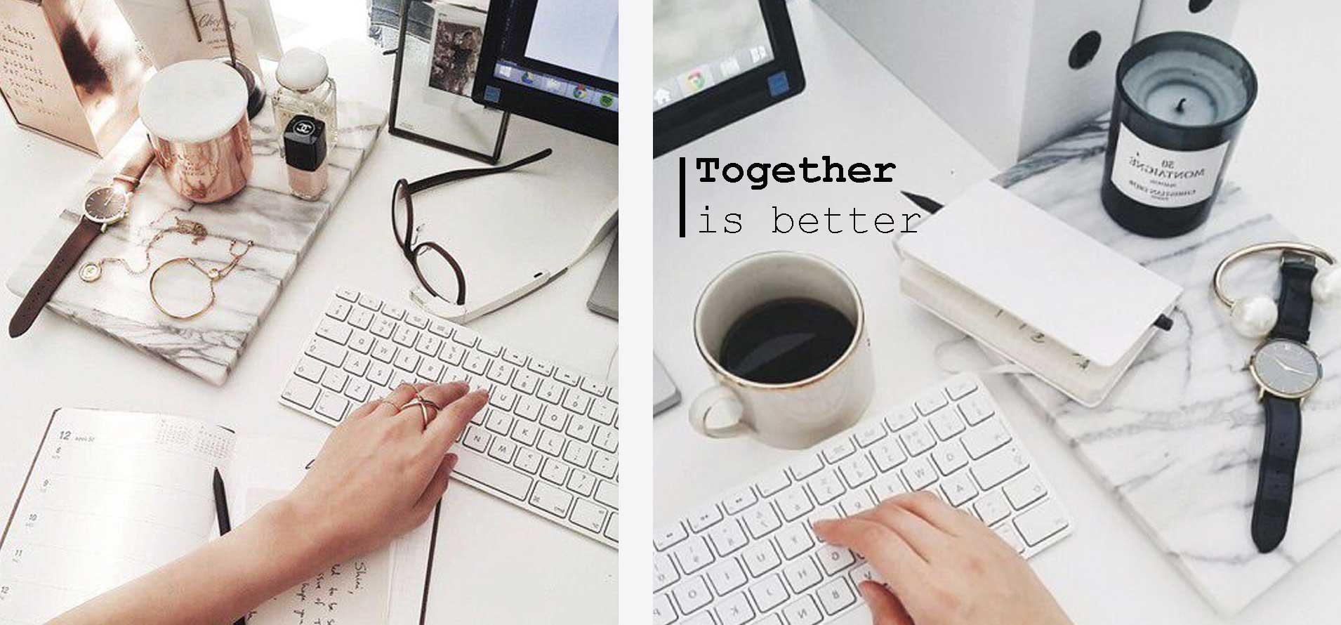 """immagine a sinistra mano di donna che lavora al computer, sulla scrivania oggettistica """"femminile"""" a destra mano maschile che lavora al mac, con ogettistica maschile, la scritta recita: together is better!"""