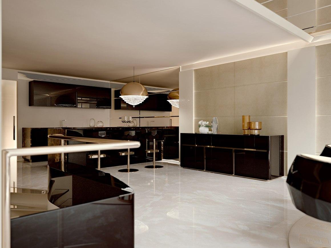 foto area dining and kitchen FENDI in ebano macassar e laccatura fondente, in contrasto con le boiserie in legno laccato male ed il pavimento in marmo bianco