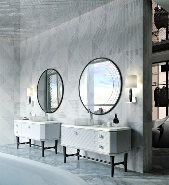 bathroom/sala da bagno. sono inquadrati due vanity della linea BELGIO con frontale cassetti in matelassé. specchi rotondi con 4 incisioni decorative
