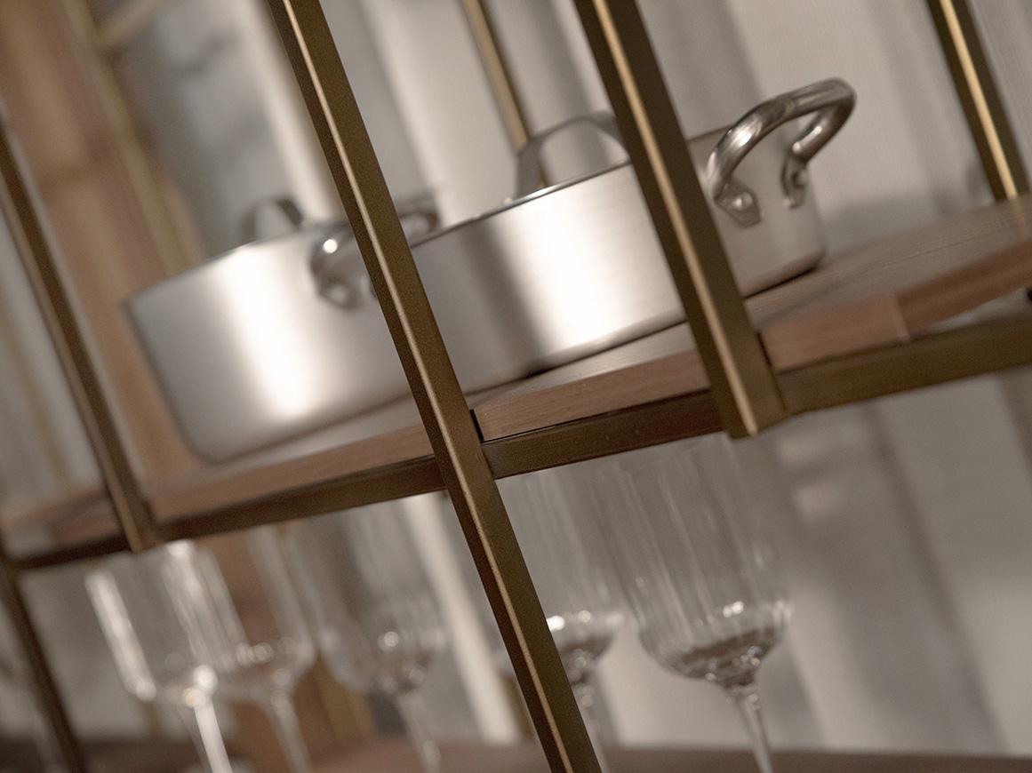 immagine con dettaglio di SIPARIO con piano in legno canaletto e struttura in metallo finitura bronzo spazzolato